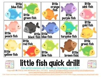 FREEBIE! Little Fish Quick Drill {for articulation or fluency therapy  RtI}
