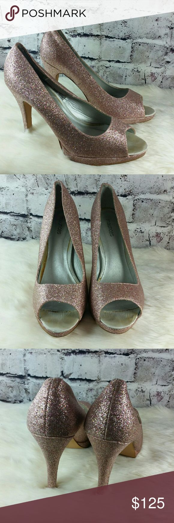 Maurices pink glitter peep toe platform pumps. Maurices pink glitter peep toe platform pumps. Some minor wear on insoles. Very pretty!  Heels are 4.5 inches Maurices Shoes Heels