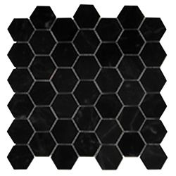 Glazed Porcelain 2' Hexagon Mosaics |  Black