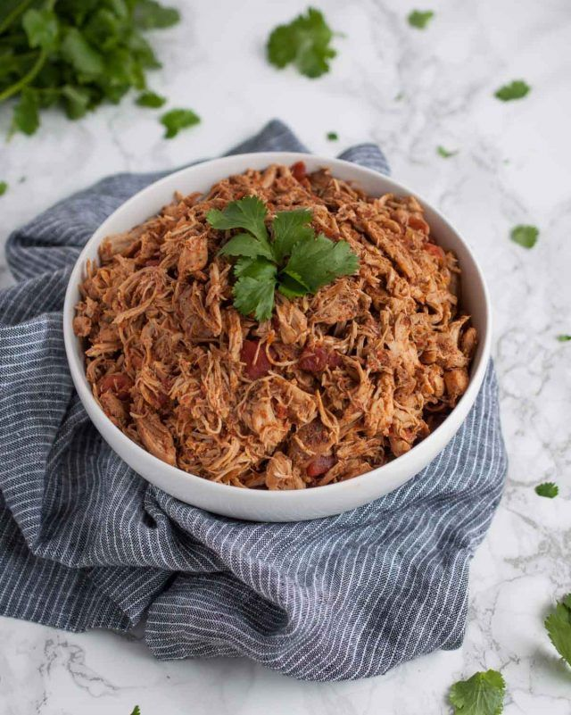 This easy recipe for shredded taco meat can be used for crockpot chicken tacos, Mexican salads, enchiladas, quesadillas, or anything else you think up!