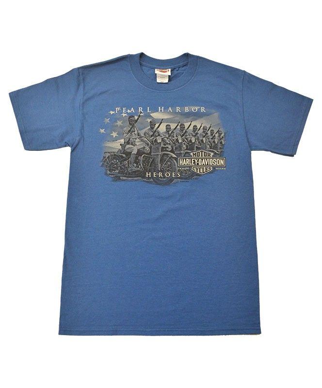 Men S Harley Davidson Pearl Harbor Heroes T Shirt Blue Harley Davidson Pearl Harbor Hero Tshirt