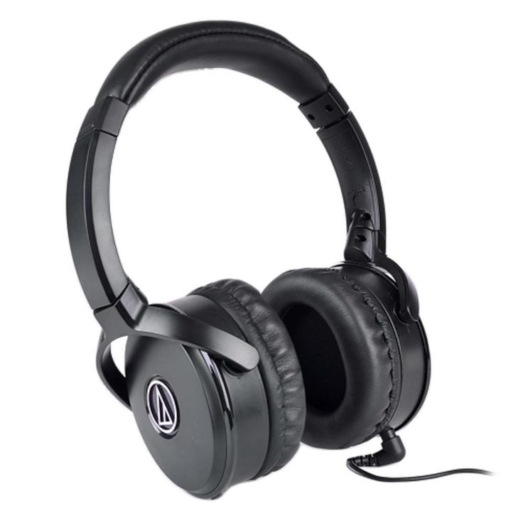 Audio-Technica QuietPoint ATH-ANC50IS Active Noise-Cancelling Over-Ear Stereo Headphones w-Inline Mic (Black)