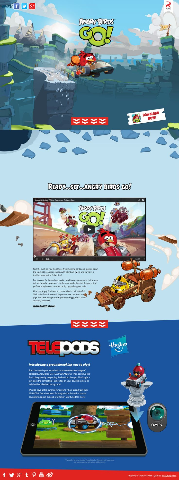 Colorful landing page with a fancy parallax hover effect to promote Angry Birds GO!