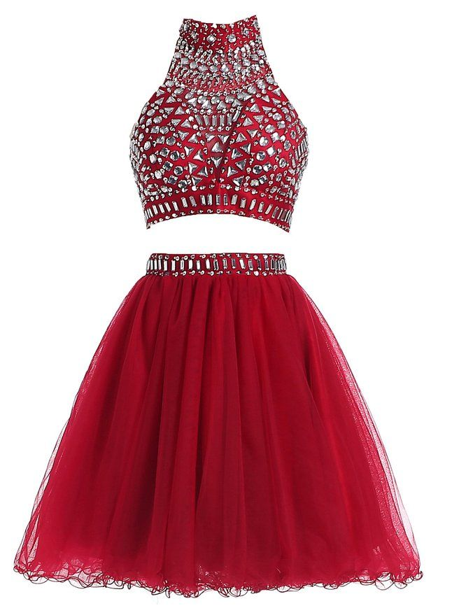 Amazon.com: R&J Women's Two Pieces Halter Coral Homecoming Rhinestones Short Formal Prom Dress: Clothing