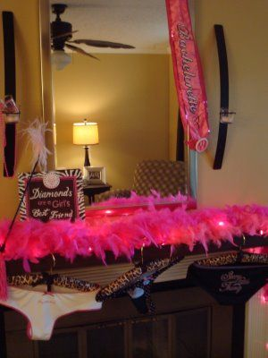 Boas and leopard hangers to hang gifts up on and Diamonds are a girls best friend picture and sash! lol