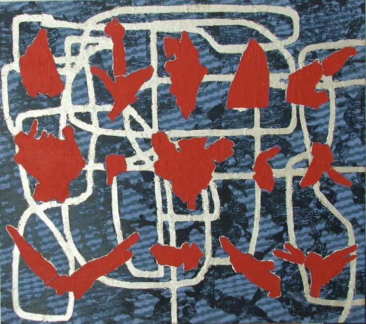 Mulasics László: Viscum Album?, 2000, 90 x 80 cm, olaj, zománc, vászon / oil and enamel on canvas