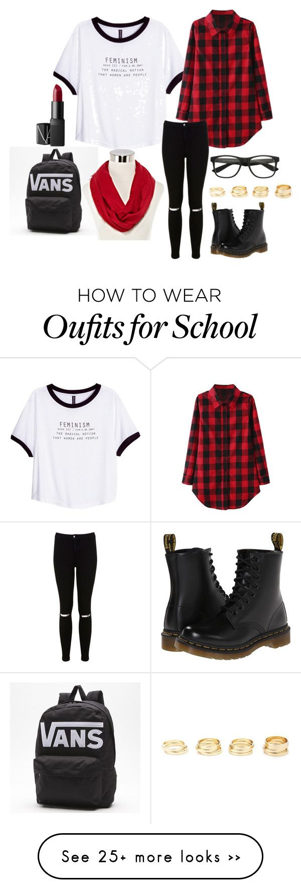"""""""School"""" by rossella-giannuzzi on Polyvore featuring H&M, Miss Selfridge, Dr. Martens, Charlotte Russe, NARS Cosmetics and Spectrum"""