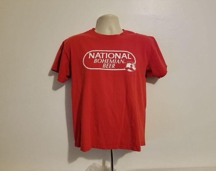 National Bohemian Beer Adult Medium Red T-Shirt #Gildan #BasicTee