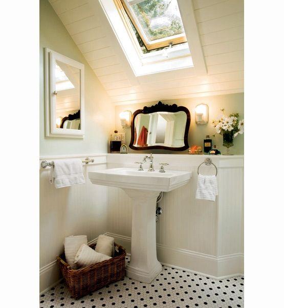Sloped ceiling bathroom sink. Problem solved. | Small ...