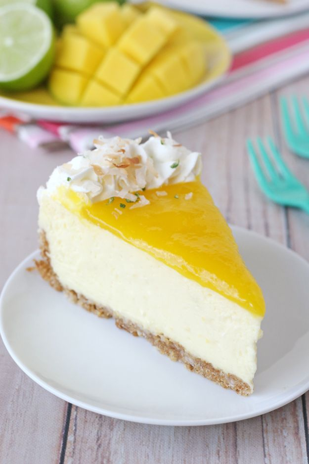 This Mango Lime Cheesecake recipe is rich, creamy and bursting with tropical flavors!