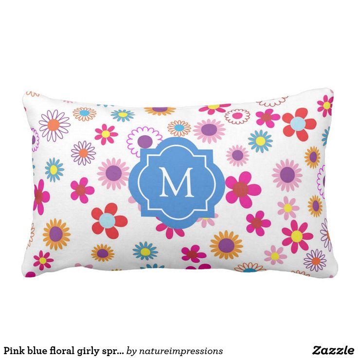Pink blue floral girly spring summer monogram