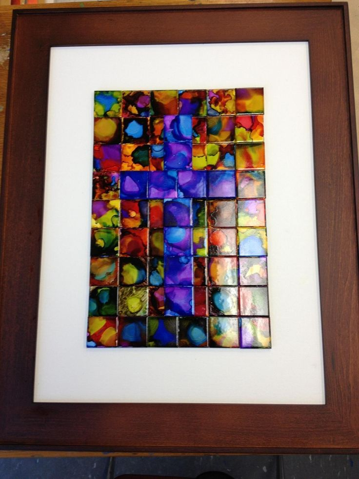 Class Art Project Alcohol Ink On Tiles, Mounted On Canvas