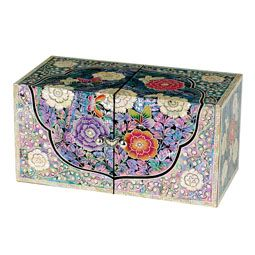 Mother of Pearl Wooden Jewelry Box with Butterfly and Flower Design