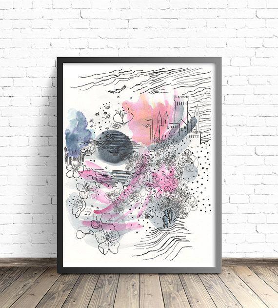 Afbeelding afdrukken. Sprookje afdrukken. Kunst aan de muur worden afgedrukt. Roze en grijs kwekerij decor. Moderne Wall Art. Roze kunst aan de muur. Boekillustratie.