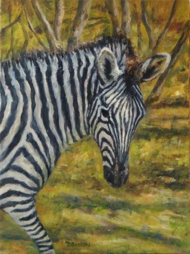 Sweet Zebra Oil Painting Animal Art Wildlife Africa, painting by artist Debra Sisson