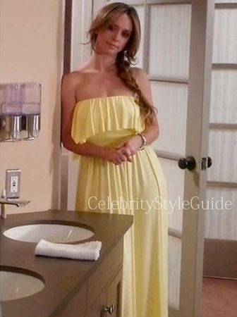 The Client List Style and Fashion: Jennifer Love Hewitt as Riley Parks wore the yellow Rachel Pally Sienna Maxi Dress on Season 2, Episode 9 Heavens Just a Sin Away of The Client List.