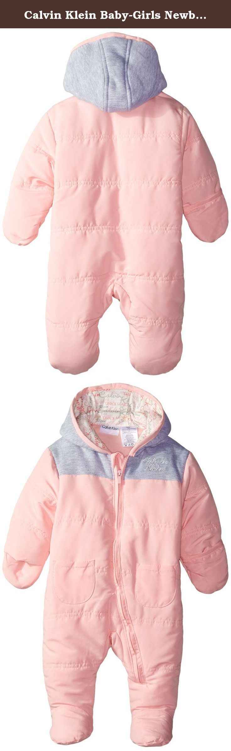 Calvin Klein Baby-Girls Newborn Hooded Gray Pink Pram, Gray/Pink, 6-9 Months. Pram.