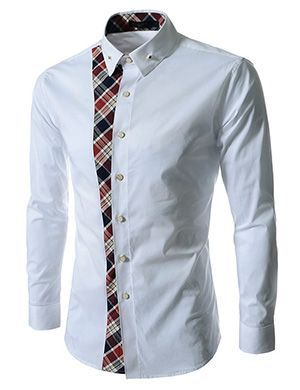 (FLS161-WHITE) Slim Fit Checker Attached Long Sleeve Shirts
