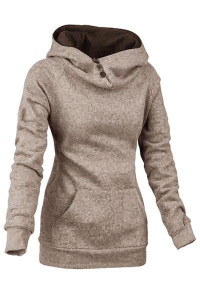 Heaps Collar Solid Color Sweatshirt