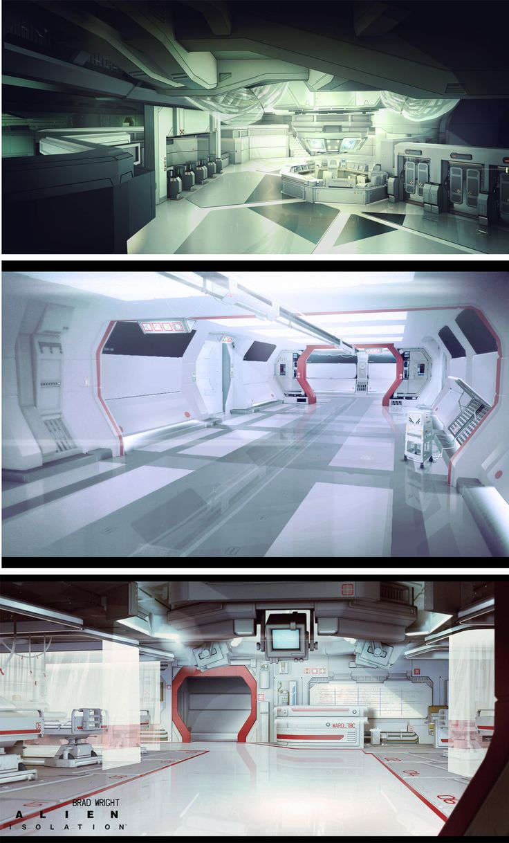 This spaceship interior reminds of a hospital or something to with medical things as the little bit of red and large amount of white just reminds me of first aid. However, I really like the doors and how they have a hexagon feel to them. I also like the machines in the walkway and also the vents on the sides.