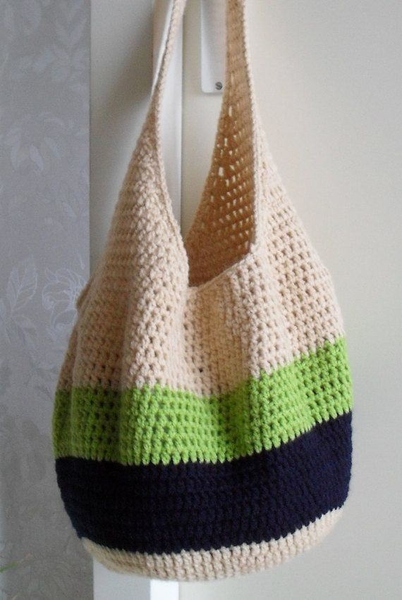 Colorful Crochet Bag Market Bag Beach Bag Tote Bag by Sjemmie