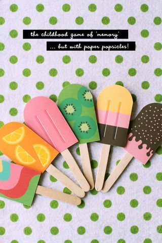 Kids matching game, or invite idea! Popsicles would be great for a summer theme.