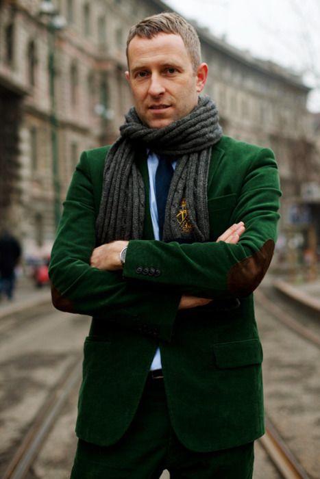 street style: emerald green jacket, menswear