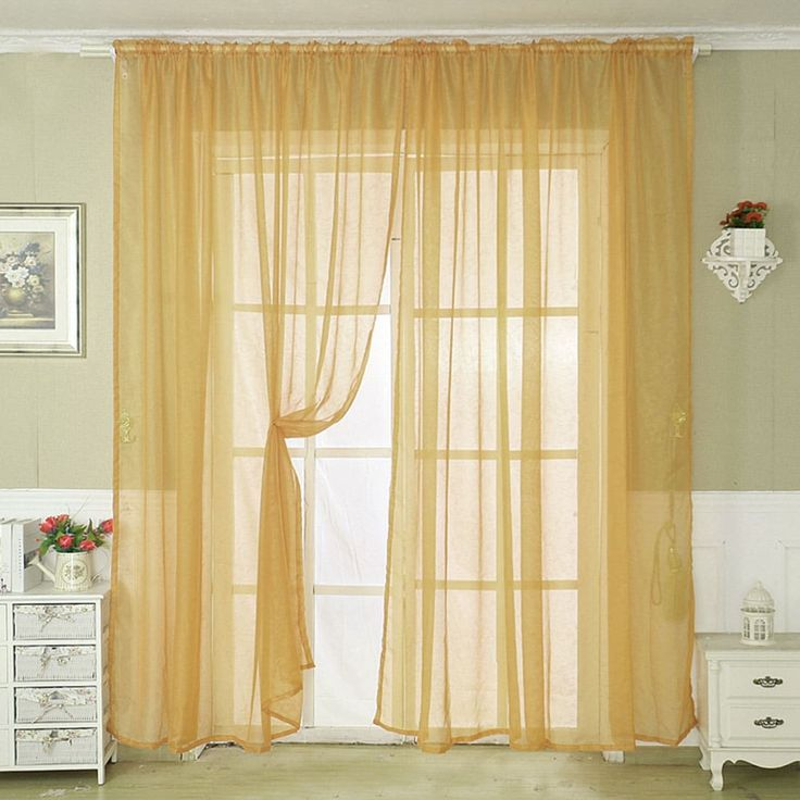 Voile Door Window Curtain Drape Panel Sheer Scarf Valances Home Dark Yellow