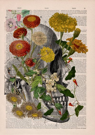 Decorative Art Flowers on Skull Nature Inspired Print by PRRINT