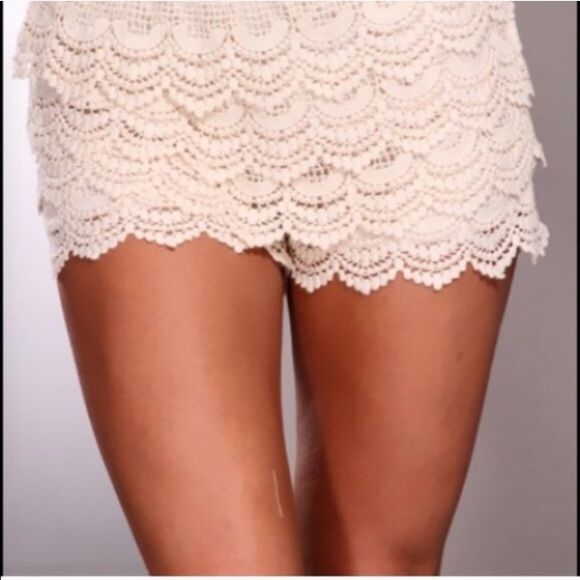 SALE New Crochet tiered shorts Cream color crochet tiered shorts. Dress it up or down.  NWOT Shorts