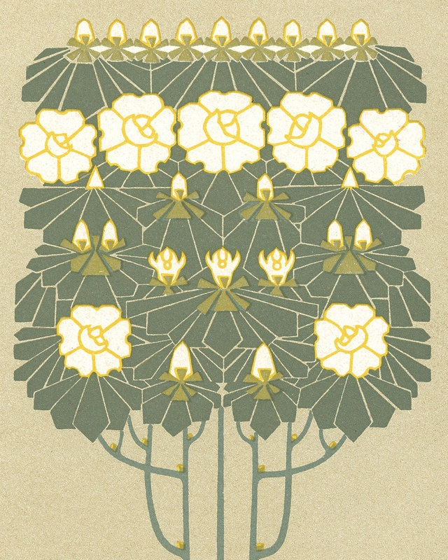 Art Nouveau Flowering Tree Series Plate 116 Botanical Art Print 8 x 10 Home Decor Arts and Crafts Era Prairie Style Mission Style Bungalow. via Etsy.