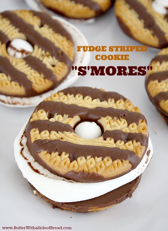 Works great because you dont have a chunk of chocolate that doesnt melt. Fudge Striped Cookie Smores! It doesnt get any easier than this!