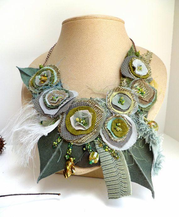 Ochtend schoonheid XIII ketting vezel kunst groene door Cesart64