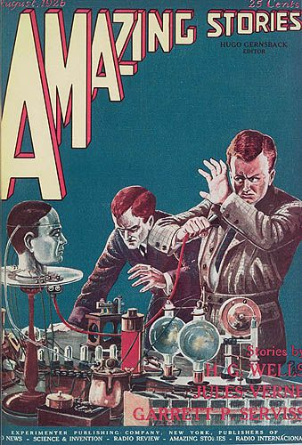 IDF047-005  Title[Amazing Stories cover: August 1926]  Mediumphoto-offset  BookHugo Gernsback, editor. Amazing Stories. New York : Experimenter Publishing Company, 1926.  NotesIllustrates an episode in this month's story, The Talking Brain, by M.H. Hasta. Here we see the rash, famous scientist at his wits' end listening to the live brain, contained in the skull, by means of the Morse code..