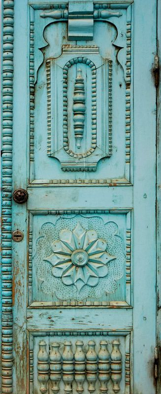 #Turquoise #old #detailed #door