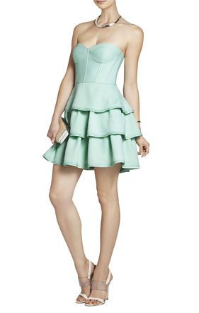 Mint Green Jacklyn Sleeveless Tiered Ruffle Flare Strapless Bandeua Dress Bcbg 150 Love Tail Dresses Pinterest And