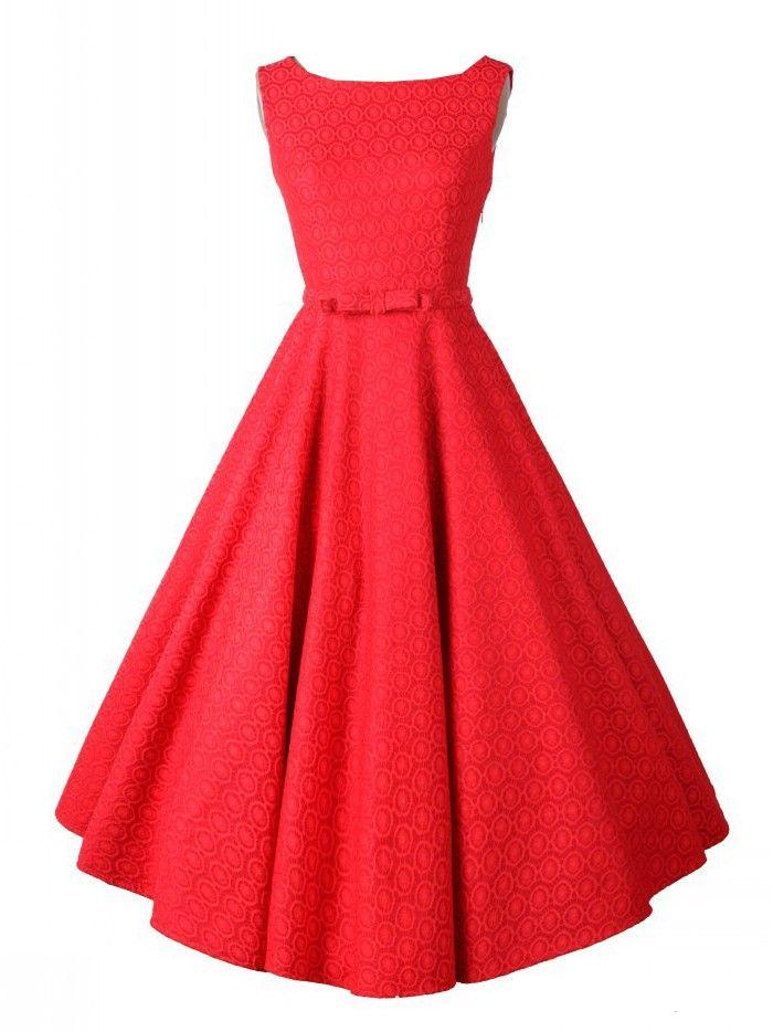 Red, Vintage, Sleeveless, Midi Dress, Party Dress