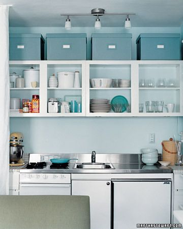 kitchen: Open Shelves, Storage Boxes, Open Cabinets, Small Kitchens, Above Cabinets, Laundry Rooms, Martha Stewart, Organizations Kitchens, Kitchens Cabinets