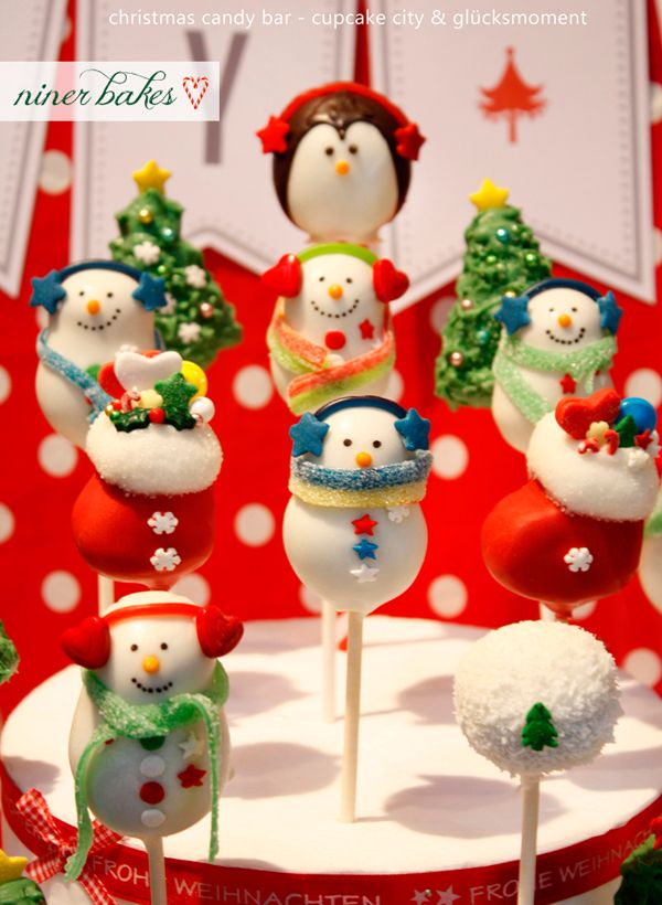 Christmas Cake Pops - Niner Bakes from Cosmopolitan's 15 Gorgeous and Delicious Christmas Desserts