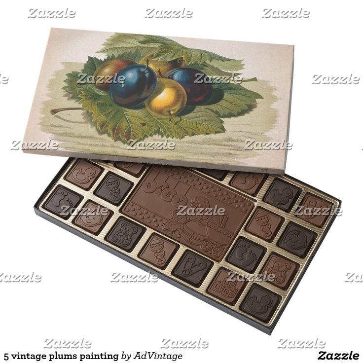 5 vintage plums painting 45 piece box of chocolates