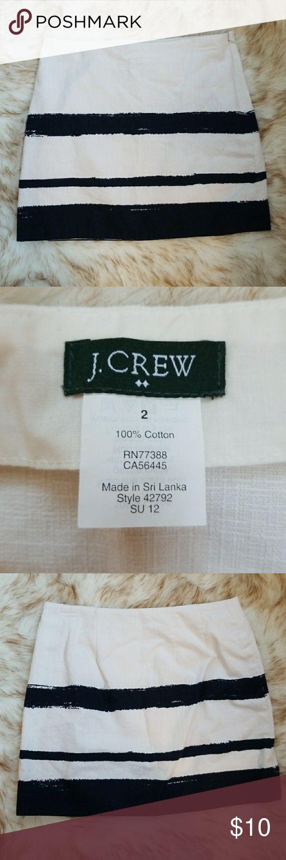 "J Crew striped skirt Ivory and navy striped skirt. 15.5"" long. Side zip. J. Crew Skirts Mini"