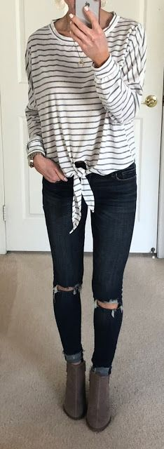 Striped Tie Front Tee, Ripped Knee Jeans, Perforated Ankle Boots | On the Daily EXPRESS