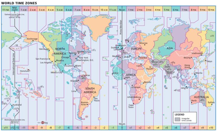 Education - Classroom Decor - Geography - Our World Time Zone Wall Map, by GeoNova, displays a unique view of the world with labeled color-coded time zones and political boundaries. You can write directly on the map or even use magnets! Find this map and more here http://www.mapsales.com/geonova/world-wall-maps/world-time-zone-wall-map.aspx?utm_source=pinterest&utm_medium=pin&utm_campaign=teach