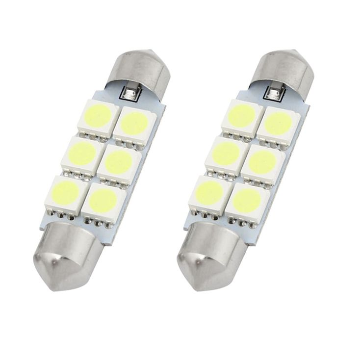 Unique Bargains 2PCS 41mm 6-LED 5050 White SMD Festoon Dome Light Map Lamp 211-2 212-2 Internal