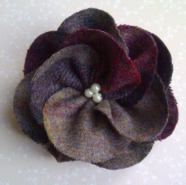like the beads in the middle idea... Red Heather Wool Tweed Flower Corsage £10.00