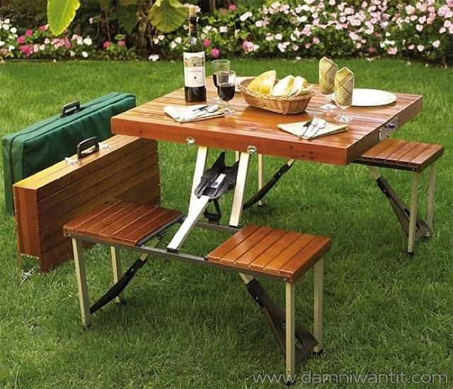 This picnic table is an ingenious idea, now you can easily carry your very own picnic table folded into a suitcase, anywhere you want. This takes portability to a whole new level. Imagine having a picnic at the top of a mountain, or in the middle of the woods, without anyone interfering. The table is just beautiful and it will surprise you being bigger than you think. It also has a sweet smell of wood. Easy to carry and well constructed, an ..