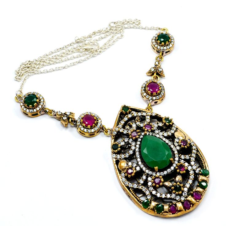 Silvesto India Ruby,Emerald And Topaz (Lab) 925 Sterling Silver With Bronze Pendant Necklace PG-7127  https://www.amazon.co.uk/dp/B01H59HFGU