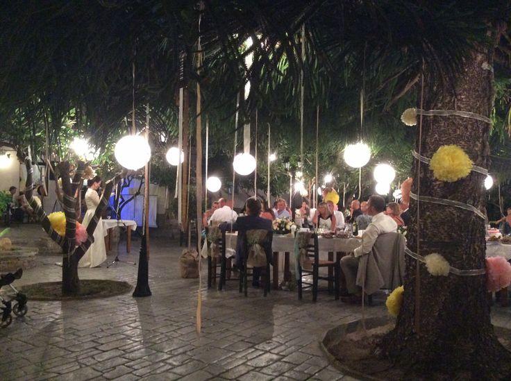 Lighting ideas in garden wedding in Naxos Greece by islandevents.gr