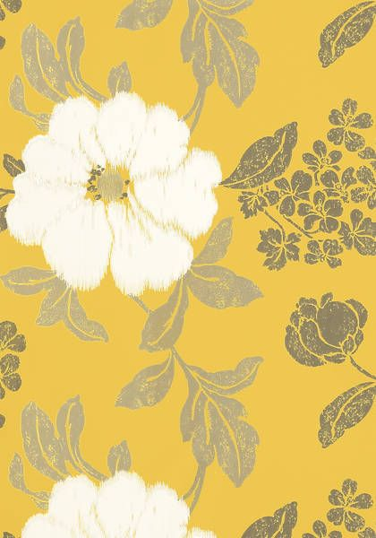 Rue De Seine #wallpaper in #offwhite on #yellow from the Zola collection. #Thibaut #AnnaFrench