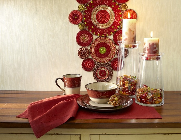 Red Scroll Ceramic Dinnerware